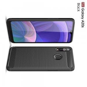 Carbon Силиконовый матовый чехол для Samsung Galaxy A20s - Черный