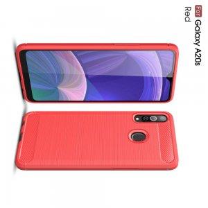 Carbon Силиконовый матовый чехол для Samsung Galaxy A20s - Красный