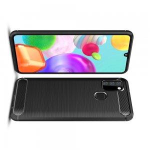 Carbon Силиконовый матовый чехол для Samsung Galaxy A21s - Черный