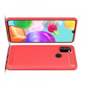 Carbon Силиконовый матовый чехол для Samsung Galaxy A21s - Красный