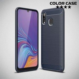 Carbon Силиконовый матовый чехол для Samsung Galaxy A40 - Синий
