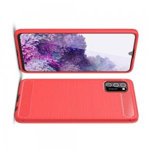 Carbon Силиконовый матовый чехол для Samsung Galaxy A41 - Красный