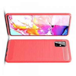 Carbon Силиконовый матовый чехол для Samsung Galaxy A51 - Красный