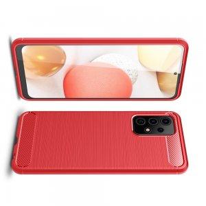 Carbon Силиконовый матовый чехол для Samsung Galaxy A52 - Красный