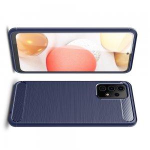 Carbon Силиконовый матовый чехол для Samsung Galaxy A52 - Синий