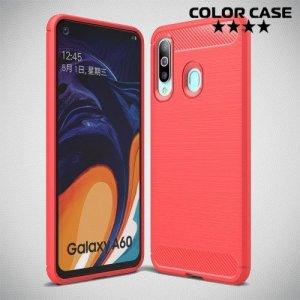 Carbon Силиконовый матовый чехол для Samsung Galaxy A60 - Коралловый