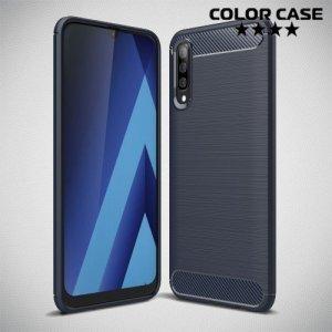 Carbon Силиконовый матовый чехол для Samsung Galaxy A70 - Синий