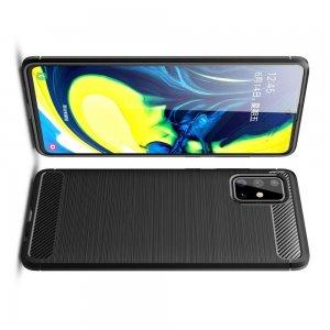 Carbon Силиконовый матовый чехол для Samsung Galaxy A71 - Черный