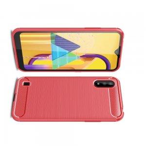 Carbon Силиконовый матовый чехол для Samsung Galaxy M01 - Красный