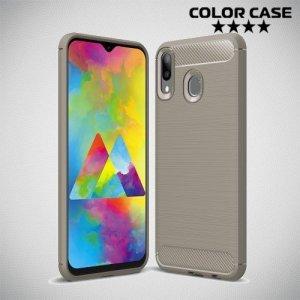Carbon Силиконовый матовый чехол для Samsung Galaxy M20 - Серый