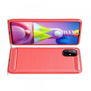 Carbon Силиконовый матовый чехол для Samsung Galaxy M51 - Красный