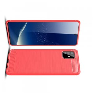 Carbon Силиконовый матовый чехол для Samsung Galaxy Note 10 Lite - Красный