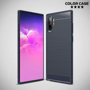 Carbon Силиконовый матовый чехол для Samsung Galaxy Note 10+ - Синий цвет