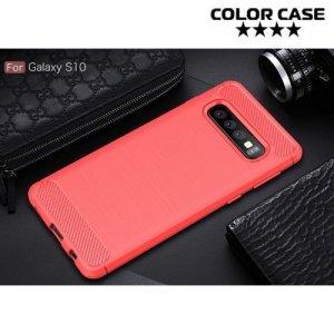 Carbon Силиконовый матовый чехол для Samsung Galaxy S10 - Коралловый