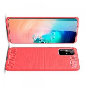 Carbon Силиконовый матовый чехол для Samsung Galaxy S20 Plus - Красный