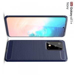 Carbon Силиконовый матовый чехол для Samsung Galaxy S20 Ultra - Синий