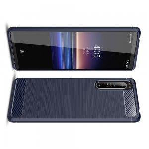Carbon Силиконовый матовый чехол для Sony Xperia 1 II - Синий