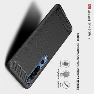 Carbon Силиконовый матовый чехол для Xiaomi Mi 10 / Mi 10 Pro - Черный