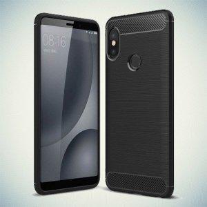 Carbon Силиконовый матовый чехол для Xiaomi Mi A2 / Mi 6X - Черный