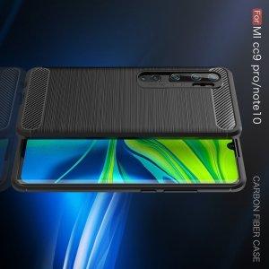 Carbon Силиконовый матовый чехол для Xiaomi Mi Note 10 - Черный
