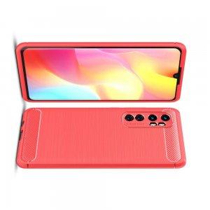 Carbon Силиконовый матовый чехол для Xiaomi Mi Note 10 Lite - Красный