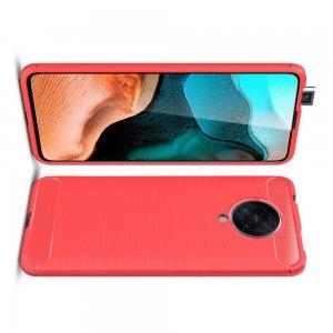 Carbon Силиконовый матовый чехол для Xiaomi Poco F2 Pro - Красный