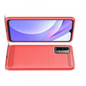 Carbon Силиконовый матовый чехол для Xiaomi Poco M3 - Красный