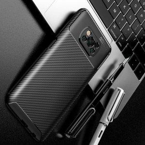 Carbon Силиконовый матовый чехол для Xiaomi Poco X3 NFC - Красный