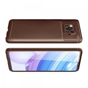 Carbon Силиконовый матовый чехол для Xiaomi Poco X3 NFC - Коричневый