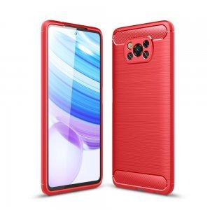Carbon Силиконовый матовый чехол для Xiaomi Poco X3 NFC - Красный цвет