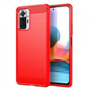 Carbon Силиконовый матовый чехол для Xiaomi Redmi Note 10 Pro - Красный