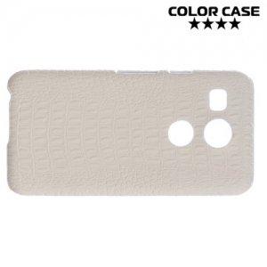 Чехол кейс обтянутый кожей крокодила для LG Nexus 5X - Белый