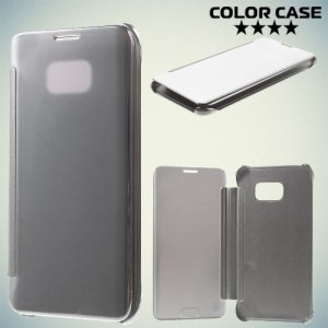 Чехол книжка ColorCase с функцией Clear View Cover для Samsung Galaxy S6 Edge Plus - Серебряный
