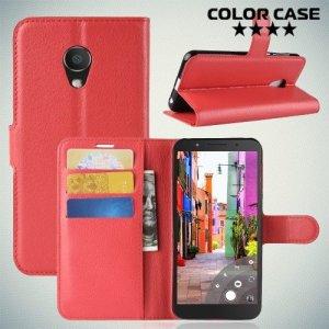 Чехол книжка для Alcatel 1C 5009D Dual Sim - Красный