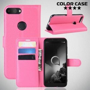 Чехол книжка для Alcatel 1S 2019 5024D - Розовый