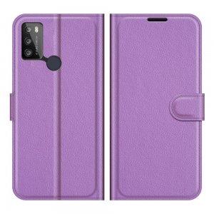 Чехол книжка для Alcatel 1S (2021)/3L (2021) отделения для карт и подставка Фиолетовый