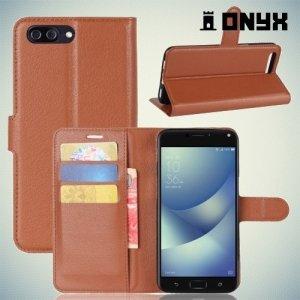 Чехол книжка для ASUS ZenFone 4 Max ZC554KL - Коричневый