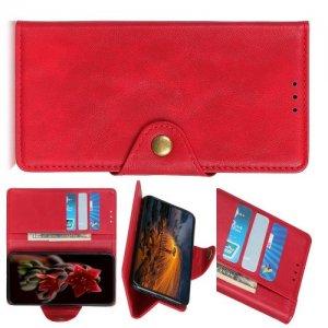 Чехол книжка для Asus Zenfone 6 ZS630KL с магнитом и отделением для карты - Красный