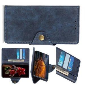 Чехол книжка для Asus Zenfone 6 ZS630KL с магнитом и отделением для карты - Синий