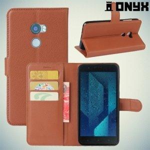 Чехол книжка для HTC One X10 - Коричневый