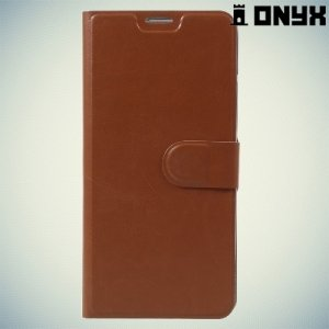 Fasion Case чехол книжка флип кейс для HTC U Ultra - Коричневый