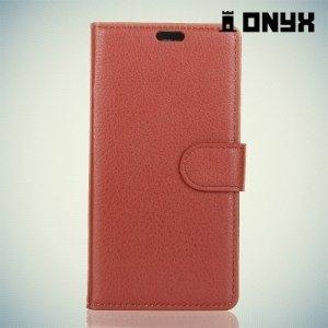 Чехол книжка для HTC U11 Plus - Коричневый