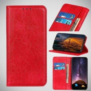 Чехол книжка для Huawei Honor 20 Pro с магнитом и отделением для карты - Красный
