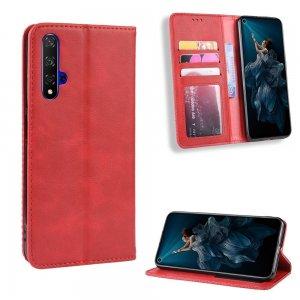 Чехол книжка для Huawei Nova 5T с магнитом и отделением для карты - Красный