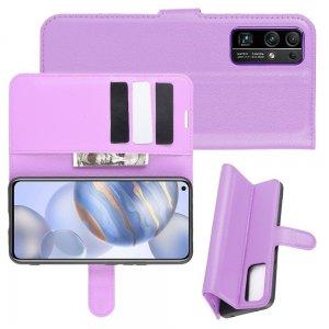 Чехол книжка для Huawei Honor 30 отделения для карт и подставка Фиолетовый