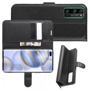 Чехол книжка для Huawei Honor 30 Pro отделения для карт и подставка Черный