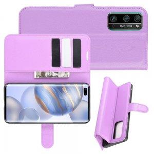 Чехол книжка для Huawei Honor 30 Pro отделения для карт и подставка Фиолетовый