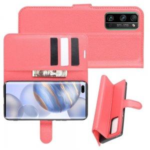 Чехол книжка для Huawei Honor 30 Pro отделения для карт и подставка Красный