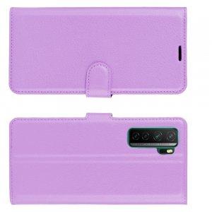 Чехол книжка для Huawei Honor 30S отделения для карт и подставка Фиолетовый