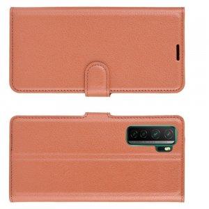Чехол книжка для Huawei Honor 30S отделения для карт и подставка Коричневый